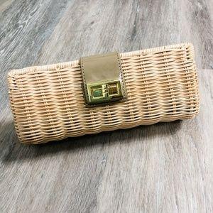 J. Crew rattan straw clutch, natural and gold EUC